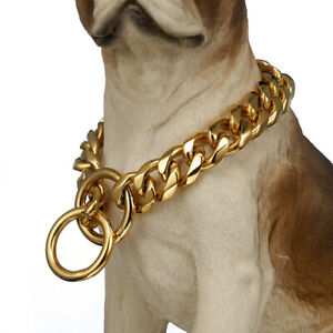 Big Gold Dog Collar Stainless Steel Cuban link Chain Strong Pet Collar Choker