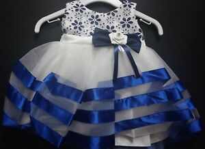 Royal Blue Navy Flower Girl Bridesmaid Christening Pageant Party Dress 0-24m