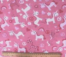 SNUGGLE FLANNEL- HEARTS-FLOWERS-PEACE & UNICORN on PINK 100% Cotton BTY