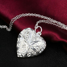 Silver Plated Hollow Heart Photo Frame Locket Pendant Necklace Chain Gift New