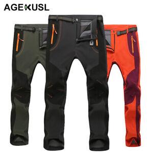 AGEKUSL Sports Trousers Pants Winter Fleece Thermal Hiking Camping Skiing Pants