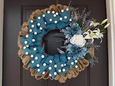 "28"" Wonderful Unique Handmade Blue Brown White Wreath - Inga GREAT GIFT"