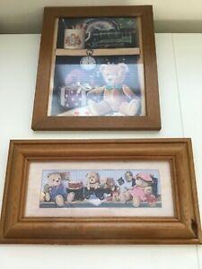 VINTAGE BEAR PICTURES X 2 CUTE TEDDY & TOYS KIDS NURSERY/BEDROOM. STUNNING DECOR