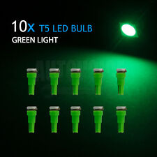 10x Green 5050 SMD T5 LED Car Dash Wedge Speedometer Dashboard Light Wide Angle