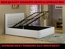 Faux Leather Gas Lift Crystal Bed White or Black Ottoman Storage Bed 50% OFF