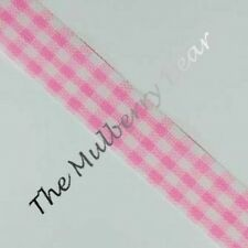 Ribbon Gingham pink 6 yards Baby girl Valentine picnic crafts Cards scrapbook