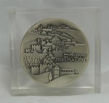 ISRAEL 1971 LUCITE PAPERWEIGHT JERUSALEM-THE KNESSET MEDAL 59mm 115g SILVER+BOX
