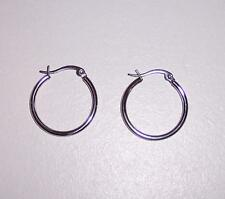Silver Stainless Steel 25mm High Polished Hoop Earrings (Almost 1 inch)