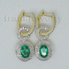 14K Yellow Gold 100% Natural Diamond 5x7mm Oval Emerald Earrings For Mother