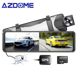 AZDOME 11'' 2.5K GPS Mirror Car Dash Cam Touch Screen Dual Front and Rear Camera