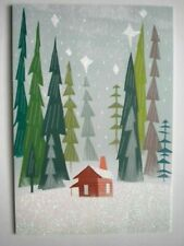 Hallmark~GLITTERY CABIN IN THE FOREST CHRISTMAS GREETING CARD +DESIGNER ENVELOPE