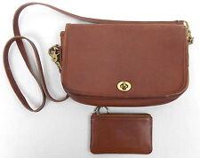 Vtg Coach Leather Penny Crossbody Shoulder Bag Purse 9755 + Coin Purse Cognac
