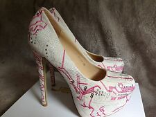 Ladies Beige Size 6 Stunning Abstract Patterned Platform Shoes