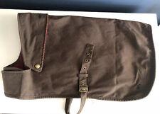 Joules Designer Brown Wax Dog Coat Tweed Lining Showerproof Brass Studs