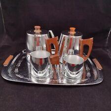 More details for vintage sona j120b tea set with tray mirror finish teak handles