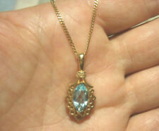 NEW 9ct Gold Marquise BLUE TOPAZ Pendant on 9ct Chain
