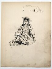 Frederick Henry Townsend (1868–1920) Fine charcoal drawing. Girl sat on floor.
