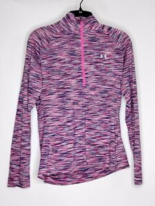 Under Armour Womens Size Med Color Purple 3/4 Zip Up Elastic Fit/Logo Activewear
