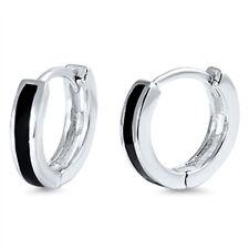 Black Onyx Bar Huggie Hoop .925 Sterling Silver Earrings