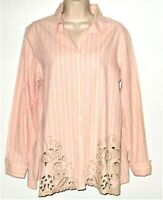 Coldwater Creek Tunic Shirt M L 12 Pink White Black Striped Embroidered Blouse