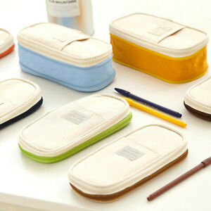 Large Capacity Canva School Pencil Case Makeup Zipper Pouch Cosmetic Bag Pen Box