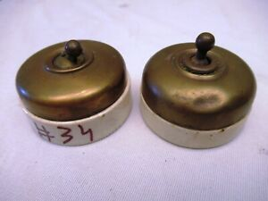 Vintage Electric Switches Brass And Porcelain Made In England Collectibles *34