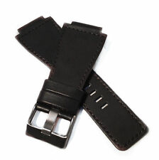24mm Black Leather Watch Strap band Compatible for Bell & Ross BR-01,BR-03,BR-02