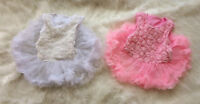 NEW Baby Girl Infant Cotton sleeveless 3D rosettes tutu Bodysuit 0-3-6-12 months