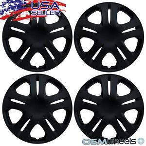 "4 New OEM Matte Black 15"" Hubcaps Fits Nissan Versa Car Center Wheel Covers Set"