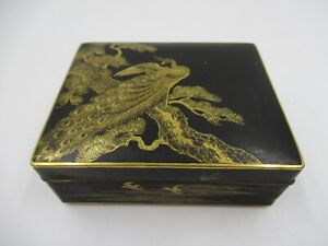 Vintage Japanese Peacock Damascene Type Box (C859)