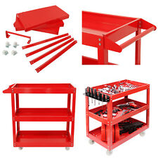 Durable Tool Storage Heavy Duty Garage Trolley Workshop 3 Tier Wheel Cart Shelf