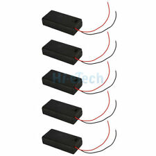"""5Pcs New Black 2 AA/2A Battery 3V Clip Holder Box Case On Off Switch W/ 6""""Leads"""