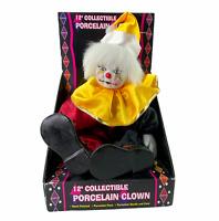 Vintage Clown Jester Doll Shantou Fruits Porcelain Head Hands Feet In Box New