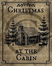 Primitive Christmas at the Cabin Log Cabin Vintage Print 8x10