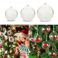 10pcs DIY Clear Ball Ornament Fillable Baubles Craft Christmas Tree Decorations