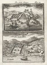 1685 Tangier & Salé Morocco 17th Century Print Engraving Mallet