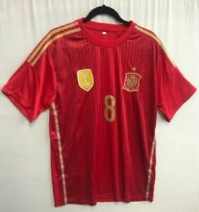 Soccer - National Teams Spain # 8 Soccer Football Jersey Size L XL XXL Red New