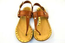 Karl Lagerfeld Brown Leather Gold Accent Thong Slingback Sandals 9.5