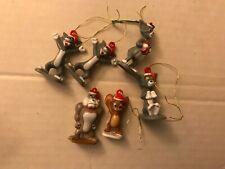New ListingTom and Jerry Mini Christmas Ornaments Plastic Figure Lot 1.5�