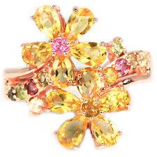 Ring Citrin Turmalin 925 Silber 585 Roségold vergoldet Gr. 57