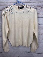 Vintage Jean For Joseph Le Bon Sz S Ivory Beaded Sequin Sweater Wool & Angora