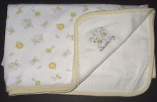 Absorba Hello Little Baby Bunny Bear White Yellow Dots Blanket Cotton
