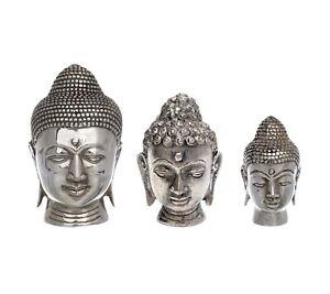 Thai Buddha Kopf Figur Versilbert Glücksbringer Feng Shui Vintage Dekofigur Asia