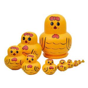 10PCS Duck Wooden Russian Nesting Dolls Babushka Matryoshka Kids Gift Toy