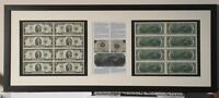 US currency, framed authentic american currency, $2 bills, uncirculated currency