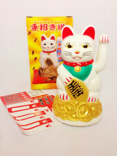 Waving Lucky Cat Maneki Neko Welcoming Beckoning Wealth Fortune Feng Shui White