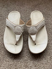 Fit Flops Ladies Toe Post Sandals UK Size 6 - White/Off White