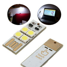 5x 4LED Night Light Card Lamp Keychain White Portable #C Pocket USB Touch switch