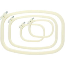 Embroidery Hoop Square Cross Stitch Hoops Ivory-White Pack of 4, Different K6X8