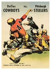 Dallas Cowboys vs Pittsburgh Steelers **LARGE POSTER** 1960 Football  FIRST GAME